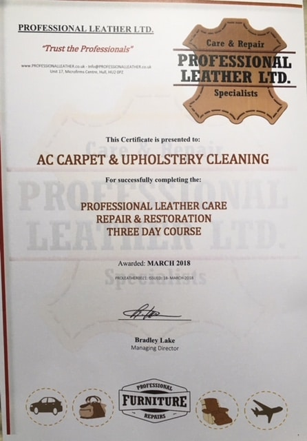 leather restoration certificate